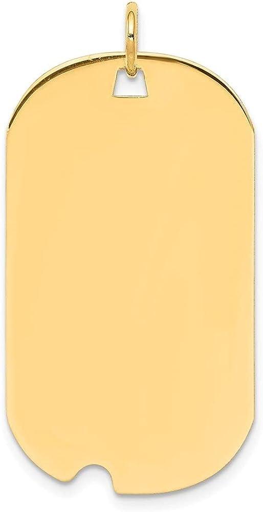 14k Yellow Gold Plain .011 Gauge Engravable Dog Tag Notch Disc Pendant (L- 37 mm, W- 19 mm)