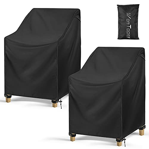 WonToper Patio Chair Covers, Waterproof 600D Heavy Duty Outdoor Lawn Furniture Covers 2 Pack, Black (32''W x 34''D x 36''H)