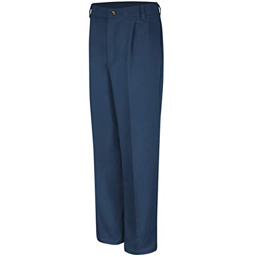 Red Kap Men's Pleated Front Cotton Pant, Navy, 29x32