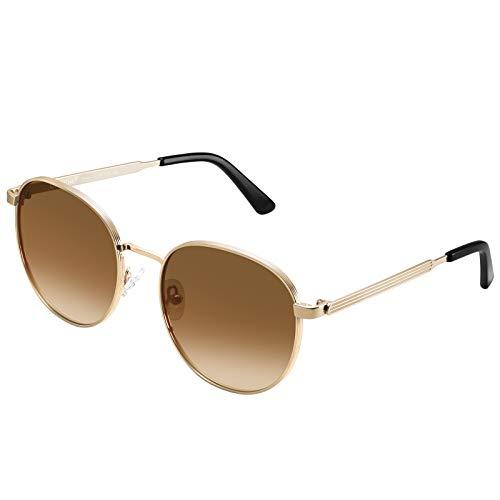 Carfia Gafas de sol redondas vintage para mujer polarizadas con protección UV400 Gafas de conducción Marco de acetato de viaje