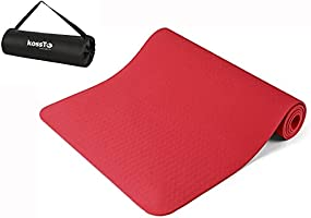 kossto Yoga Mat with Carrying Bag for Gym Workout and Yoga Exercise with 6mm Thickness, Anti-Slip Yoga Mat for Men &...