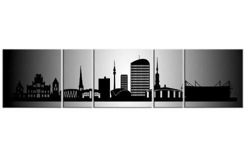 TOP Bild auf Leinwand CITY PANORAMA DORTMUND Silber 5 TEILE DIGITAL Arts AP500009 Bilder fertig bespannt auf Keilrahmen. Kunstwerk als Wandbild auf Rahmen. GRÖßE WÄHLEN! GÜNSTIGER ALS Ölbild Gemälde Poster Plakat mit Bilderrahmen! MADE IN GERMANY