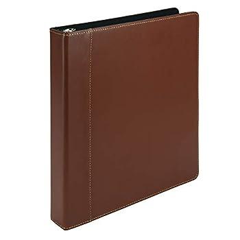 Samsill Contrast Stitch Leather 3 Ring Binder / Portfolio / Organizer / Planner 3 Ring Binder 1 Inch Holds 200 Sheets  8.5 x 11  Tan