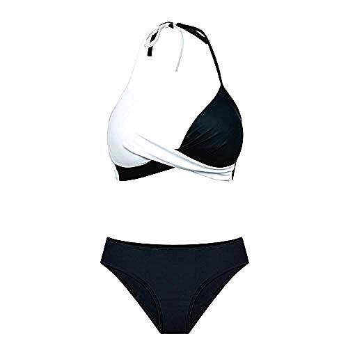 Tweedelig Vrouw Badpak - Zee - Meisje - Bikini - Gecoördineerd - Twee Kleuren - Gewatteerde - Wit Zwart Kleur