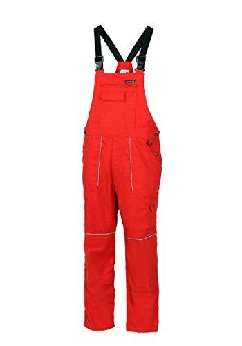 HighMax Latzhose, Arbeitshose, hochfeste Baumwoll-Mischung 315G/m², Reflexbiese, Metallknöpfe, Rot (54)