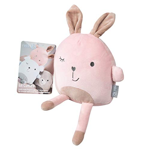 Roba Coussin douillet de la série « Lil Cuties » pour bébé, peluche « Lily » pour fille et garçon avec carte d'amitié, couleur rose/mauve