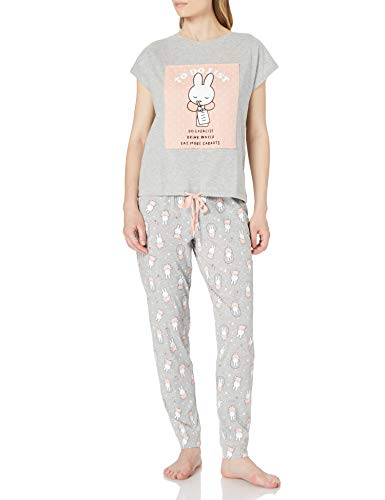 Women' Secret Pijama Largo Miffy algodón, Gris Medio, M para Mujer