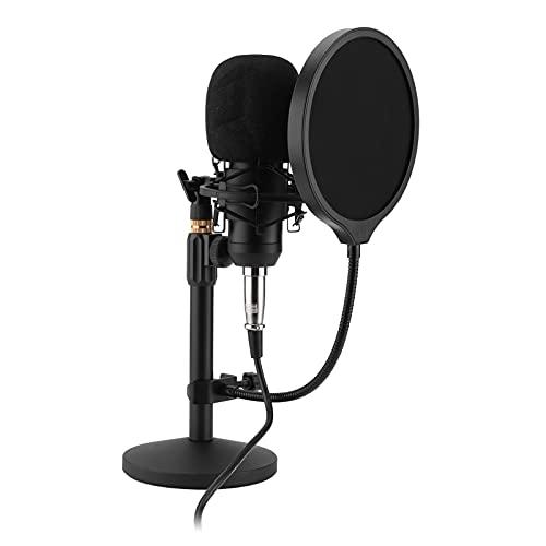 Micrófono de condensador inalámbrico, robusto soporte suspendido totalmente metálico Fácil de instalar y usar Juego de micrófono de cabeza redonda Puertos de audio duales para el hogar para