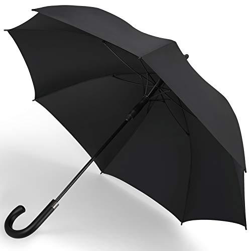 [紳士長傘]SHIO MOKU 傘 長傘 メンズ ワンタッチ 65cm 大きめ 丈夫 撥水 耐強風 グラスファイバー 梅雨対策 通学 通勤 収納ポーチ付き ブラック