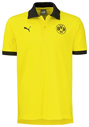 Puma Herren Polo BVB Badge, Cyber Yellow-Black, M, 750124 01