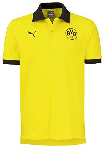 PUMA Herren Polo BVB Badge, Cyber Yellow-Black, M