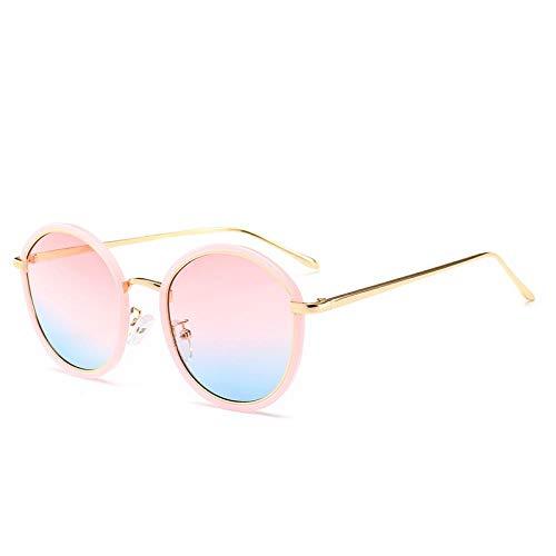 XIMAO Gafas De Sol Redondas Retro Clásicas Protección Solar Protección Ocular Tendencia Europea Y Americana Street Shooting Ocean Film Gafas De Sol Marco Dorado Polvo De Barbie