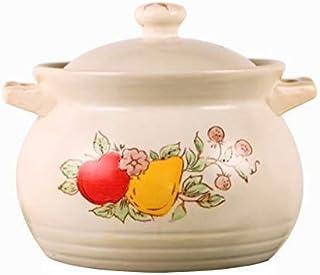 AZHom Cazuela de cerámica Olla de Piedra vasija de Barro Olla Olla Grande Capacidad de Cocina Sopa Bote Blanco Pintado a Mano del hogar Anti-escaldar Completa con Cubierta de glaseado