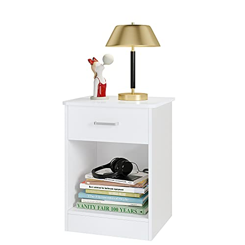 Nightstand 2 Tier, Bedroom End Table Sofa Side Table with Drawer and Storage Cabinet, Living Room Furniture, Easy Assembly, White