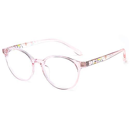 KOOSUFA Kinderbrille Ohne Stärke Blaulichtfilter Rund Brillenfassung Brillengestell Anti Blaulicht Brillen TR90 Rahmen Anti Müdigkeit für Mädchen und Jungen (Rosa)