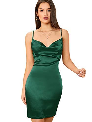 DIDK Damen Satin Kleid Cowl Partykleid Spaghettiträger Abendkleid Bodycon Bleistiftkleid Elegant Camisole Knielang Kleider Grün S