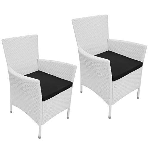 vidaXL 2X Sillas de Jardín y Cojineso Asiento Sillon de Exterior Patio Terraza Muebles Aire Libre Ratán Sintético Blanco Crema Material Tipo Mimbre