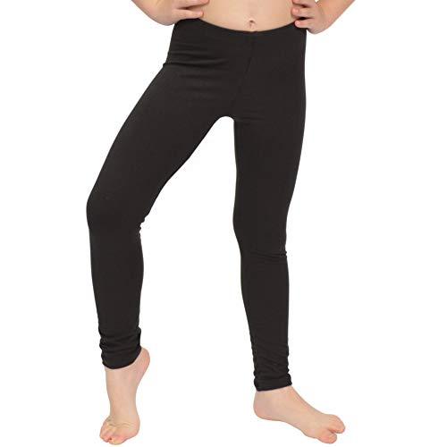 Stretch is Comfort Girl's Cotton Footless Leggings Black Medium