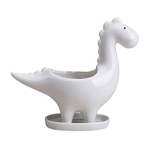 Maceta suculenta de Dinosaurio Creativa, Maceta suculenta de cerámica, bonsái Multiusos para decoración de Oficina, jardín, hogar (Blanco)