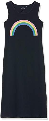 NAME IT Mädchen NKFVIPPA SL Maxi Dress NOOS Kleid, Blau (Dark Sapphire Print: Rainbow), (Herstellergröße: 152)