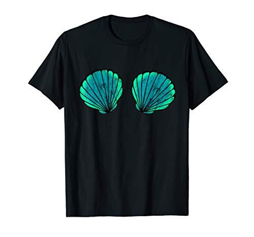 Nixe Meerjungfrau Muschel Bikini BH Strand Urlaub Kostüm T-Shirt