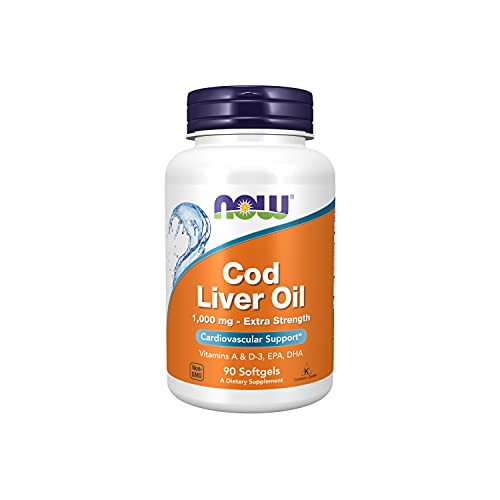 fish liver oils NOW Supplements, Cod Liver Oil, Extra Strength 1,000 mg with Vitamins A & D-3, EPA, DHA, 90 Softgels