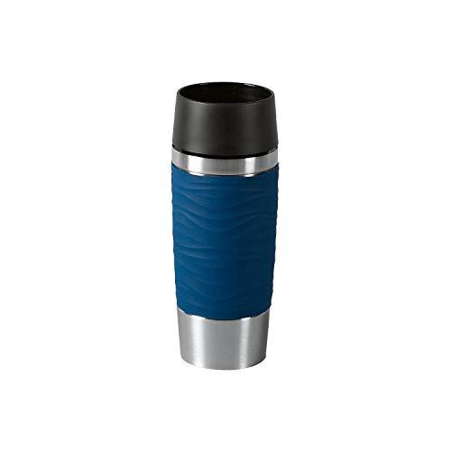 Emsa Travel Mug Waves IsolierbecherN20109 | 0,36 L | bis zu 4h heiß und 8h kalt | 100% dichter Thermobecher | 360°-Trinköffnung | Quick Press Verschluss | Kaffee to Go | Blau