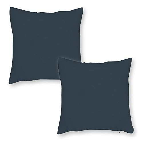 Tiukiu Set of 2, 18 X 18 Inch Velvet Soft Square Throw Pillow Cases Cushion Covers For Bed Sofa Couch Car, Charcoal Solid Color