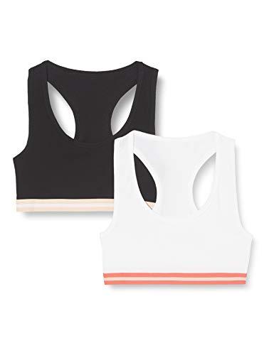 Amazon-Marke: Iris & Lilly Belk018m2 Damen Racer Back Top, Schwarz/Weiß/Wassermelone, M , 2er Pack
