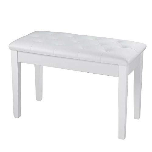 Review Of White 2-Person Piano Bench Wood Frame Keyboard Stool PU Leather Seat Hidden Storage Compar...
