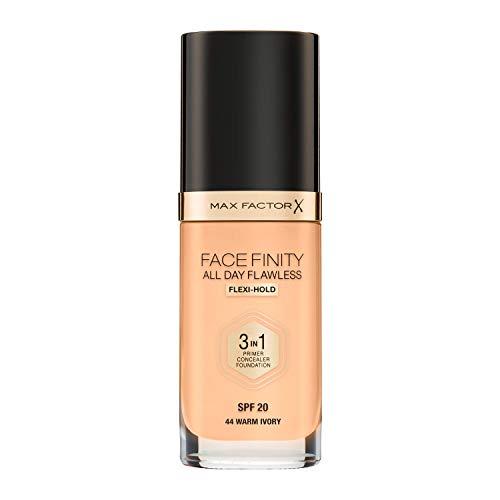 Max Factor Facefinity 3 en 1 All Day Flawless Base de Maquillaje, Tono 44