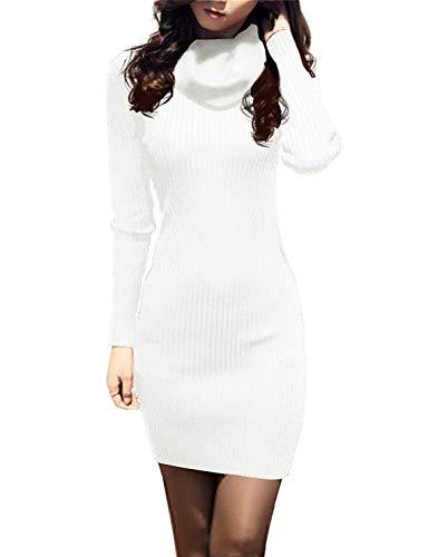 v28 Women Cowl Neck Knit Stretchable Elasticity Long Sleeve Slim Fit Sweater Dress (S,Cream White)