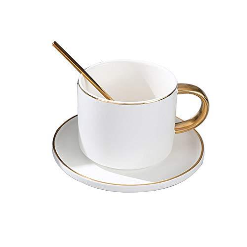 SXXYTCWL Copa de café Cerámica Resistente al calor Taza de té Taza de té y platillo con cuchara de acero inoxidable Juego de combo adecuado para Latte Cappuccino Cacao de cacao caliente Copa de jugo (