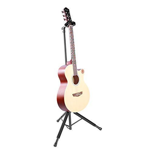 Neewer Tripod Guitar Stand Durable Metal Construction with Adjustable Height 24.4-43.3 inches/62-110 centimeters, Loads up to 33 pounds/15 kilograms for Electric, Acoustic, and Bass Guitars (Black)