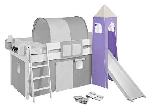 Turm Lila Beige - für Hochbett, Spielbett mit Rutsche
