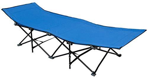 AMANKA Lit de Camp Pliable de Portable avec Sac INCL idéal pour Faire du Camping Voyager Se Bronzer Structure en Acier 190x70cm 10 Pieds Bleu Clair