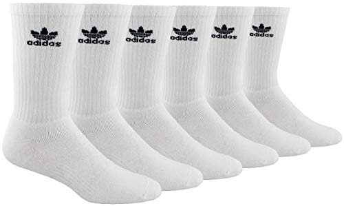 Best tennis socks - adidas Men's Athletic Cushioned Crew Socks (6-Pair), White/Black, Large, (Shoe Size 6-12)