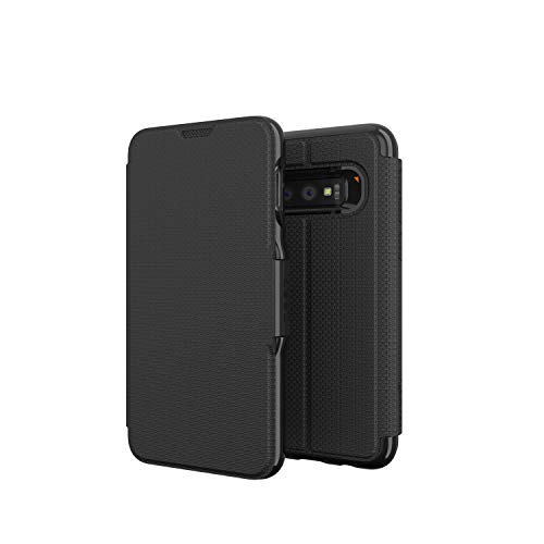 GEAR4 Oxford Folio Designed for Samsung Galaxy S10 Case with Advanced Impact Protection by D3O - Black