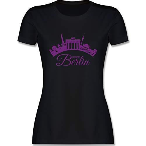 Skyline - Skyline Berlin Deutschland Germany - M - Schwarz - t-Shirt Berlin Skyline Damen - L191 - Tailliertes Tshirt für Damen und Frauen T-Shirt