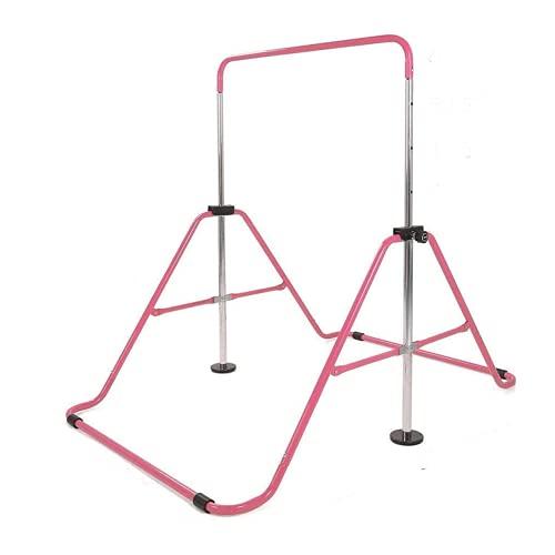 KZKR - Barra de gimnasia para niños, barra fija de gimnasia para niños, casa, equipamiento de entrenamiento deportivo, gimnasia, barra interior plegable, color rosa