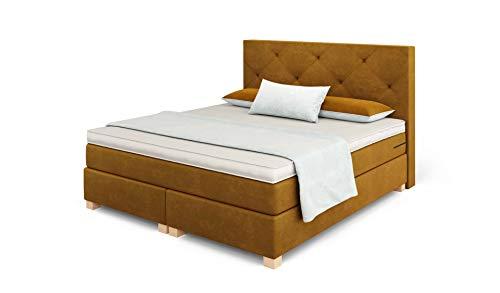 Betten Jumbo Prince Boxspringbett 160x200 cm mit 7-Zonen TFK Härtegrad H2 und 10 cm V2-Topper   Farbe Coffee-Braun   div. Größen verfügbar
