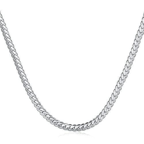DOOLY Collar de Cadena de Serpiente Plano clásico de Plata 925 de 5,5 mm para Hombres y Mujeres, Collares de Cadena de eslabones, Regalos de joyería con dijes