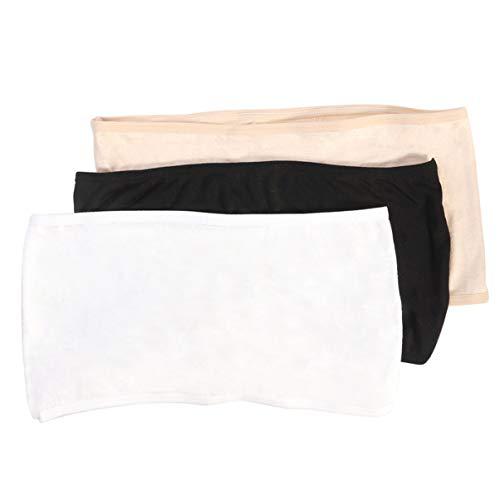 IMIKEYA 3 Kleuren Womens Dames Zachte Elastische Strapless Bandeau Tube Tops Geen Pad Borst Wraps- Maat L (Zwart & Wit & Naakt)