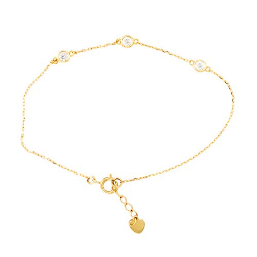 Pulsera 3 redonda, piedras de circonio y corazón de oro amarillo (375/1000)
