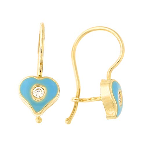 14k Yellow Gold Cubic Zirconia Blue Enamel Heart Kidney Wire Drop Earrings