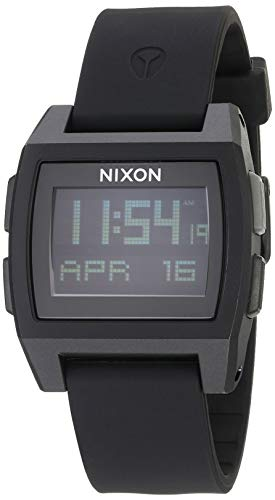 NIXON Base Tide A1104 - All Black - 100m Water Resistant Men's Digital Surf Watch (38 mm Watch Face, 22 mm Pu/Rubber/Silicone Band)