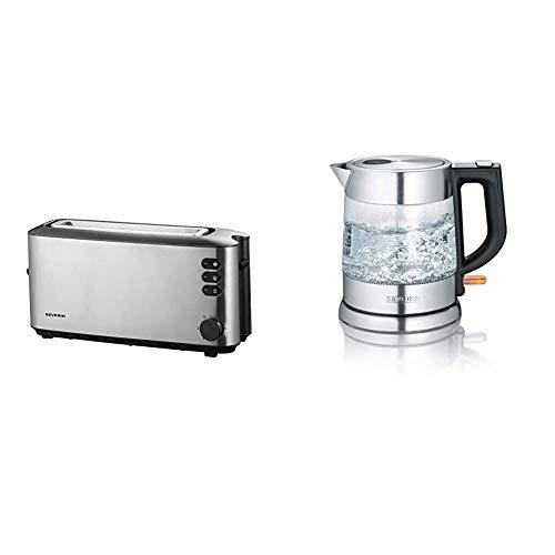 SEVERIN AT 2515 Automatik-Toaster (1.000 W, 1 Langschlitzkammer, Für bis zu 2 Brotscheiben) edelstahl/schwarz & WK 3468 Glas-Wasserkocher (ca. 2.200 W, 1 L) edelstahl/schwarz