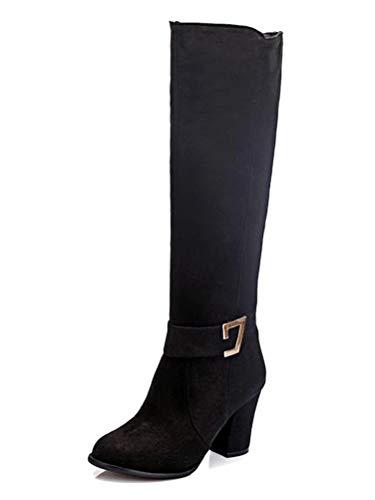 Damen Kniehohe Stiefel Blockabsatz Wildleder Knielange Stiefel Herbst Winter High Heel Stiefel Schwarz 46 EU