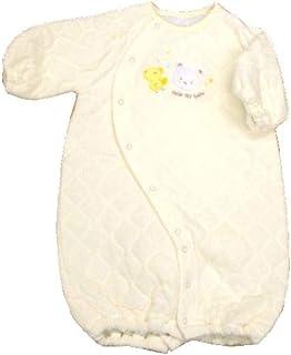 日本製冬向け パイルキルト ツーウェイオール ドレス『クマ&ヒヨコ』 新生児 サイズ50-70