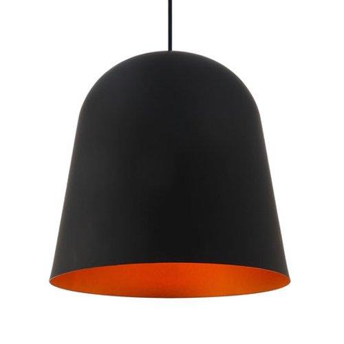 Hanglamp van metaal, zwart met gouden binnenkant, voor E27-lampen